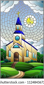 Illustration in stained glass style with Church on the background of summer landscape, a Church on the background of the Sunny sky and green trees