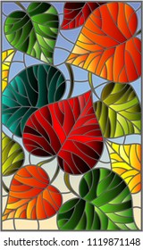 Illustration in stained glass style with colorful leaves 