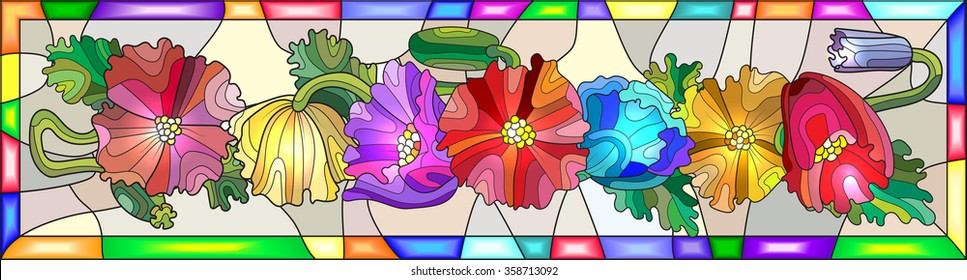Illustration in stained glass style with colorful flowers