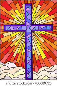 Illustration in stained glass style to cross on a background of sky and clouds