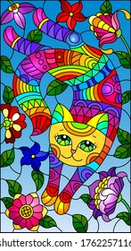 Illustration in stained glass style with a cute rainbow cat on a background of a bright flowers and sky