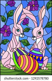 Illustration in stained glass style for Easter holiday, two pink  rabbits and Easter painted eggs on a background of tree branches with flowers