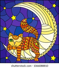 Illustration in stained glass style with fabulous red kitten lying on the moon on a starry sky background