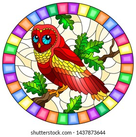 Illustration in stained glass style with fabulous red owl sitting on a tree branch ,oval picture frame in bright