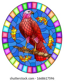 Illustration in stained glass style with fabulous red Falcon sitting on a tree branch against the sky, oval image in bright frame