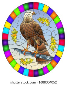 Illustration in stained glass style with fabulous Falcon sitting on a tree branch against the sky, oval image in bright frame
