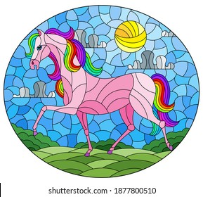 Illustration in stained glass style with a fabulous bright horse on a background of fields and a cloudy sky with the sun,oval image
