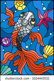 Illustration in stained glass style with a fish on a background of shells and water