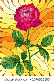 Illustration in stained glass style flower of pink rose on a orange background