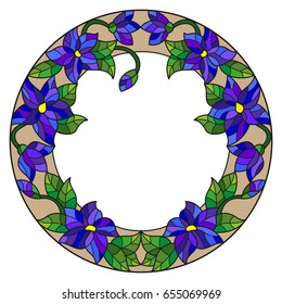 Illustration in stained glass style flower frame, blue flowers and leaves on a white background