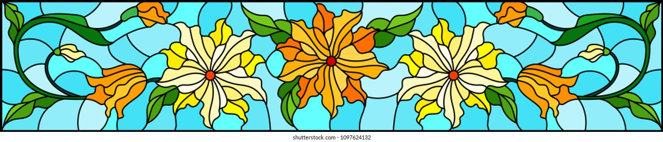 Illustration in stained glass style with flowers, leaves and buds of yellow  flowers on a blue background, symmetrical image, horizontal orientation