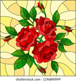 Illustration in stained glass style with flowers, buds and leaves of  red roses on a yellow background