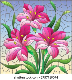 Illustration in stained glass style with flowers and leaves  of lilies flowers on a blue background