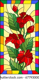 Illustration in stained glass style with flowers, buds and leaves of  Calla flower in a bright frame
