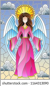 Illustration in stained glass style with girl angel in pink dress NP background of sky and clouds