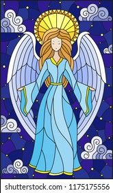 Illustration in stained glass style with girl angel in blue dress on  background of starry sky and clouds