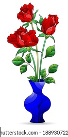 Illustration in a stained glass style with an isolated element, a bouquet of roses in a bright vase on a white background