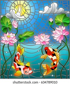 Illustration in stained glass style with koi fish and Lotus flowers on a background of the solar sky and water