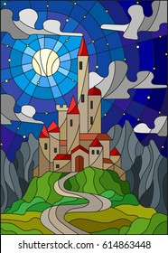 Illustration in stained glass style landscape with old castle on the background of Moon ,starry sky and mountains
