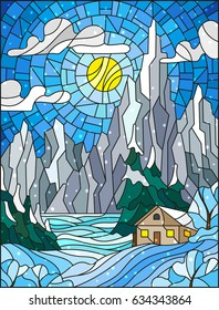Illustration in stained glass style with a lonely house on a background of snowy pine forests, lake, mountains and day. Sunny sky with clouds, winter landscape