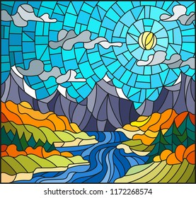 Illustration in stained glass style with the meandering river on a background of mountains, forests and Sunny sky,autumn landscape