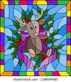 Illustration in stained glass style for New year and Christmas, plush moose, Holly branches and ribbons on a blue background in a bright frame