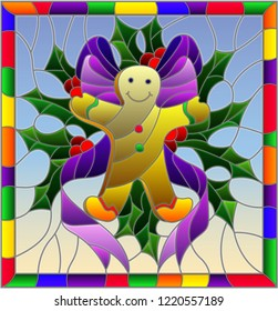 Illustration in stained glass style for New year and Christmas, ginger man, Holly branches and ribbons on a blue background in a bright frame