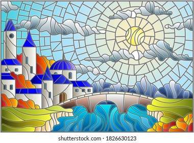 Illustration in stained glass style with the old town and bridge over a river with mountains in the background, the cloudy sky and sun,autumn landscape