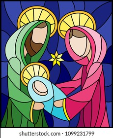 Illustration in stained glass style on biblical theme, Jesus baby with Mary and Joseph, abstract figures on blue background, rectangular image