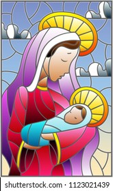 Illustration in stained glass style on biblical theme, Jesus baby with Mary , abstract figures on sky background with clouds, rectangular image