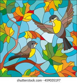 Illustration in stained glass style on the theme of autumn, two Tits in the sky and maple leaves
