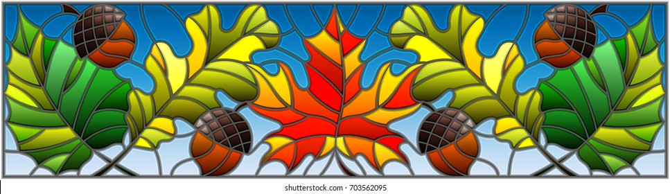 Illustration in stained glass style on the theme of autumn, leaves, oak, maple , aspen and acorns on a blue background,horizontal orientation