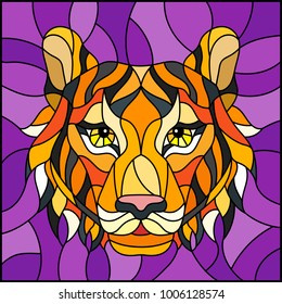 The illustration in stained glass style painting with a tiger head on a purple background , square image
