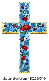 The illustration in stained glass style painting on religious themes, stained glass window in the shape of a Christian cross decorated with red roses isolated on white background