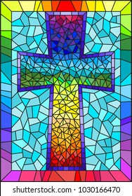 The illustration in stained glass style painting on religious themes, stained glass window in the shape of a rainbow Christian cross , on a blue background with rainbow frame