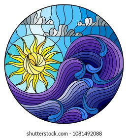 The illustration in stained glass style painting abstract landscape sea waves on the background of Sunny sky and clouds, round illustration