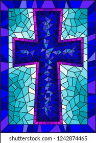 The illustration in stained glass style painting on religious themes, stained glass window in the shape of a blue Christian cross , on a blue  background with  frame