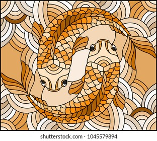 Illustration in stained glass style with a pair of gold fish on water wavy background,Sepia,tone, brown