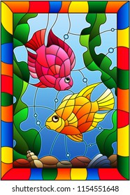 Illustration in stained glass style with a pair of princess parrotfish on the background of water and algae in bright frame