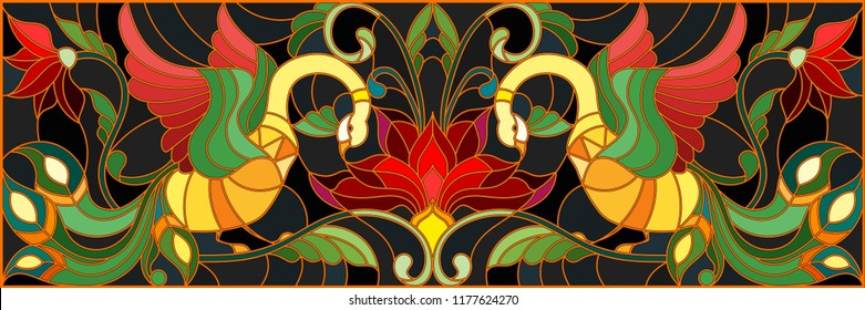 Illustration in stained glass style with a pair of roosters , flowers and patterns on a dark background , horizontal image,the imitation of painting Khokhloma