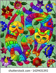 Illustration in stained glass style with a pair of rainbow cute cats on a background  bright flowers