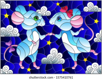 Illustration in stained glass style with a pair of dancing mice on the background of the starry sky and clouds