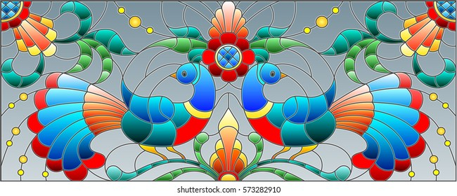Illustration in stained glass style with a pair of abstract birds , flowers and patterns on a grey background , horizontal image