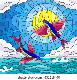 Illustration in stained glass style with a pair of flying fish on the background of water ,cloud, sky and sun