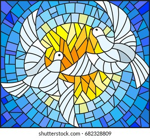 Illustration in stained glass style with a pair of white doves on the background of the daytime sky