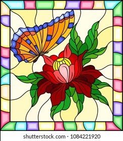 Illustration in stained glass style with a red flower and bright  orange butterfly on a yellow background in a bright frame