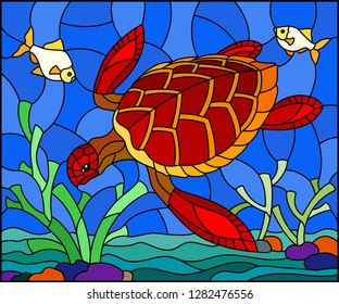 Illustration in stained glass style with red  sea turtle on the seabed background with algae, fish and stones