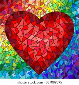 Illustration in stained glass style with red heart on the rainbow in the background