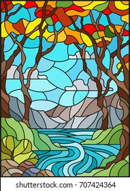 Illustration in stained glass style with a rocky Creek in the background of the Sunny sky, mountains, trees and fields,autumn landscape