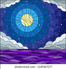 Illustration in stained glass style with sea landscape, sea, cloud, starry sky and moon